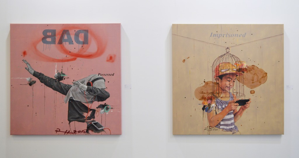 """Ruzzeki Harris, Art Taipei 2016: """"DAB"""" (left) and """"Imprisoned"""" (right) Popular culture and mobile computing obsession are very prevalent among youth in the 21st century, and Malaysia is no different."""
