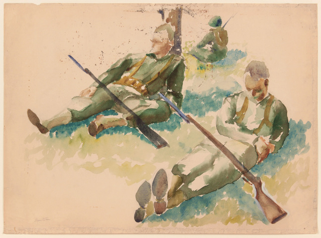 , 'Training in Florida (3 soldiers resting),' 1943, Betty Cuningham
