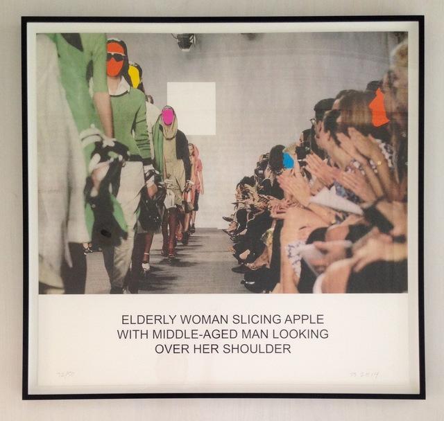 John Baldessari, 'The News: Elderly Woman Slicing Apple...', 2014, Adam Biesk Inc.