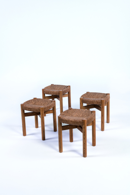 Charlotte Perriand, 'Pair of Méribel stools in oak and rush', vers 1950, Leclere