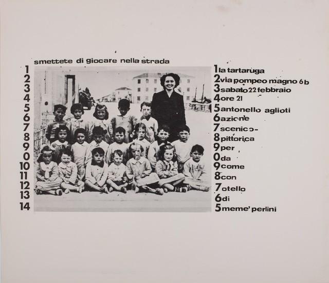 Agliotti, 'Smettete di giocare nella strada', 1975, Finarte