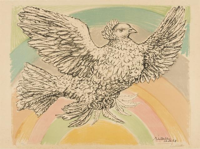 Pablo Picasso, 'Colombe Volant (à l'arc-en-ciel) (Bloch 712; Mourlot 214)', 1952, Print, Lithograph printed in colours, Forum Auctions