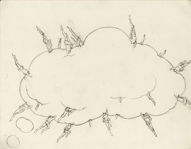 ", 'Study for ""Dream Object, (""I was working on these large drawings of comic esthetics with headless superheroes embedded..."") (thought bubble cloud)"",,' 2012, Simon Lee Gallery"