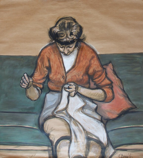 , 'Sarah Sewing,' ca. 1963, Castlegate House Gallery