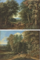 A wooded landscape with travellers and a cart and horse; and A wooded landscape with travellers, a castle beyond