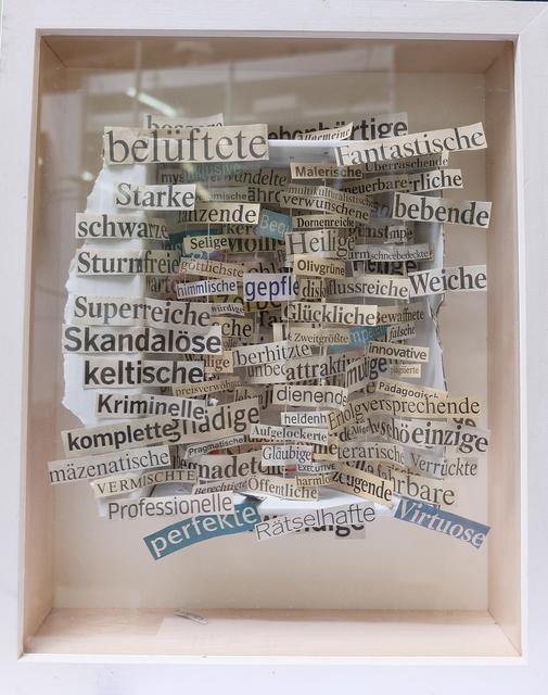 """, '""""Rätselhafte"""" - Genommodellskizze für Traumfrau in Pappschachtel (Version VI),' 2015, Galerie Brigitte Schenk"""