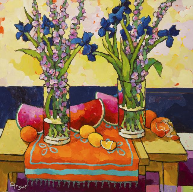, 'Glads and Iris on orange,' , Ventana Fine Art