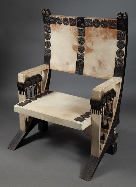 Carlo Bugatti, 'Carlo Bugatti Parchment, Ebonized Wood, Copper, Pewter and Inlaid Bone Armchair', Design/Decorative Art, Doyle