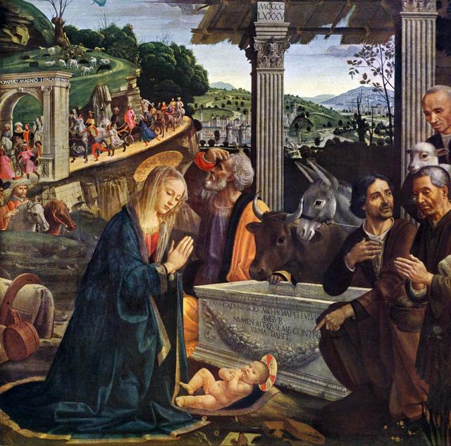 Domenico Ghirlandaio, 'Nativity and Adoration of the Shepherds, Sassetti Chapel panel, altarpiece', 1485, Painting, Tempera and oil on panel, Art History 101