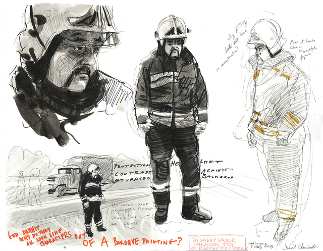 , 'Highway Wreck drawing (character study Patrick Firefighter),' 2013, Galerie Micheline Szwajcer