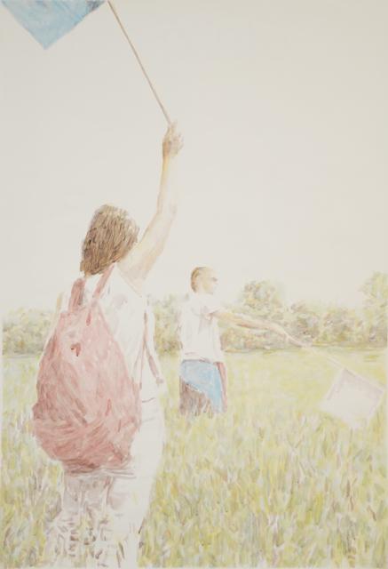 , 'Two Figures Two Flags (study),' 2013, Galeria Filomena Soares