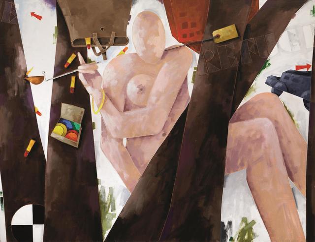 Emilio Tadini, 'Profugo in bosco', 1987, Painting, Acrylic on canvas, Pandolfini