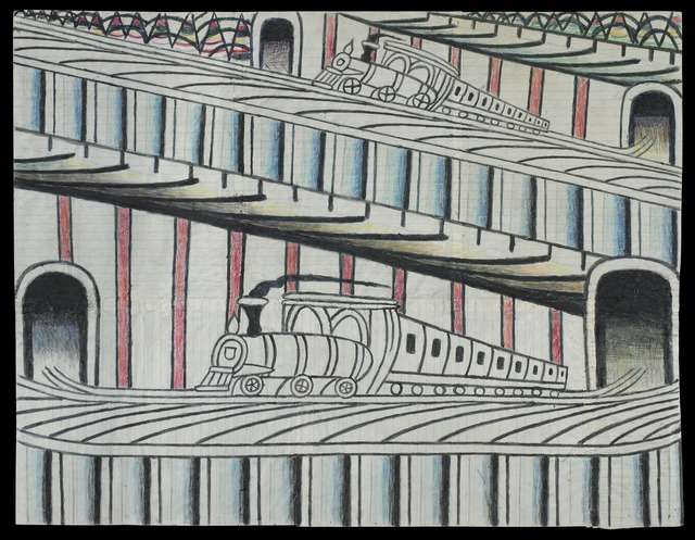 Martín Ramírez, 'Untitled (Trains on Inclined Tracks)', c. 1960, Robert Berman Gallery