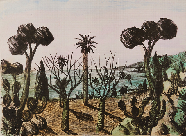 Salvo, 'Untitled (shore)', 1986, Print, Lithograph on hand watercolored paper, Rago/Wright