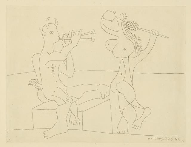 Pablo Picasso, 'Faune flûtiste et danseuse à la maraca et au tambourin: two prints (B. 1341; Ba. 702)', 1945, Print, Two etchings, Sotheby's