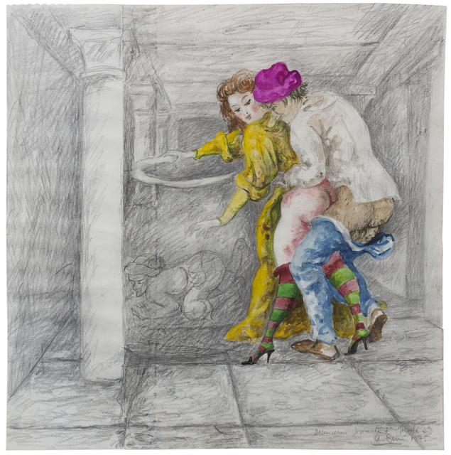"""Antonio Berni, 'Decameron, Jornata 7ª, Noche 2ª. De la serie de Ilustraciones para """"El Decamerón""""', 1975, Cosmocosa"""