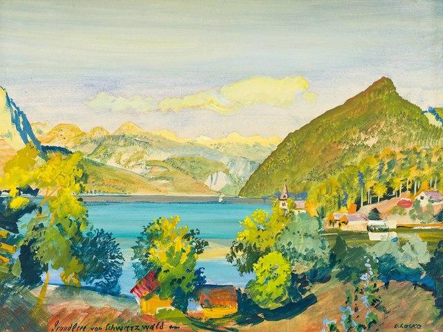 Oskar Laske, 'At Grundlsee', 1932/1935, Drawing, Collage or other Work on Paper, Gouache on paper, Galerie Kovacek & Zetter