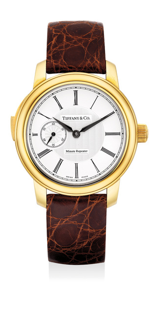 Tiffany and Co., 'A fine and rare yellow gold minute repeating wristwatch with original certificate and presentation box', Circa 2004, Phillips