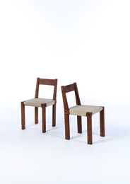 Pair of S24 chairs in elm and upholstery