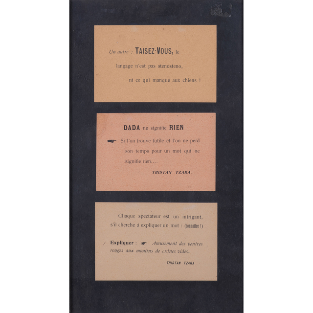 Tristan Tzara, 'Trois cartes imprimées Dada', PIASA