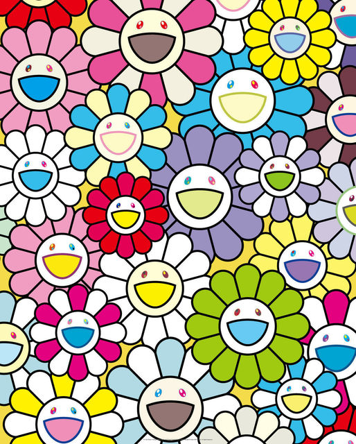 Takashi Murakami, 'A Little Flower Painting: Yellow, White, and Purple Flowers', 2017, Print, Offset lithograph in colours, Lougher Contemporary