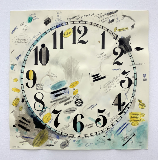 Amanda Ross-Ho, 'Study for Untitled Timepiece (FRAZZLED DEMEANOR/RELIEF EFFORTS)', 2016-2021, Drawing, Collage or other Work on Paper, Acrylic, gouache, coffee, ink, graphite, ball point pen (black) ball point pen (blue) on vintage paper clock dial, Arts of Life Circle Contemporary