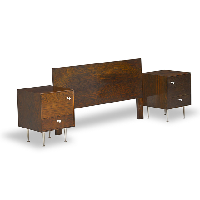 George Nelson, 'Pair of Thin Edge nightstands and full-sized headboard, Zeeland, MI', 1950s, Design/Decorative Art, Rosewood, porcelain, enameled metal, aluminum, Rago/Wright