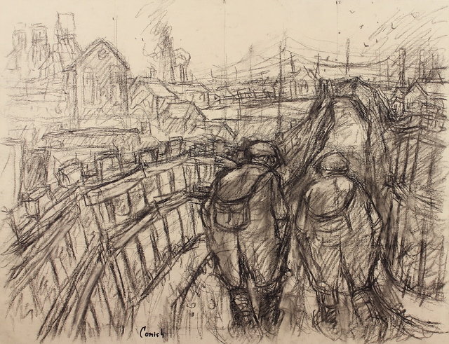 , 'Miners on pit road,' ca. 1964, Castlegate House Gallery