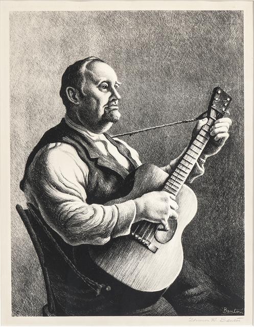 Thomas Hart Benton, 'The Hymn Singer alternatively titled The Minstrel', 1950, Print, Lithograph on paper, Skinner