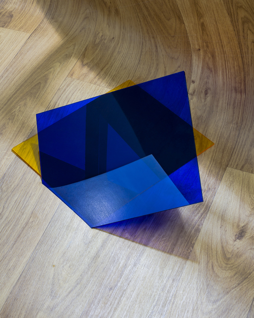 , 'Objektiv: Wood Print Linoleum, Plexiglass (Yellow and Blue),' 2014, TEMPO RUBATO