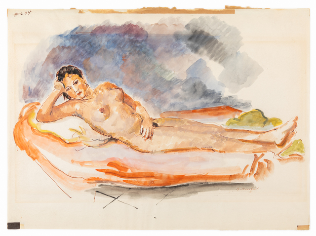 Bernard Karfiol, 'Cuban Nude', Drawing, Collage or other Work on Paper, Watercolor on paper, Hindman