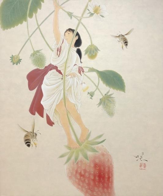 Yoji Kumagai, 'Ichibiko (Red Fruit)', 2019, Painting, Mineral pigments on Japanese paper mounted on panel, SEIZAN Gallery