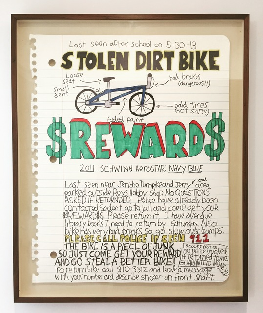 , 'Stolen Bike Reward,' 2016, Art Unified Gallery