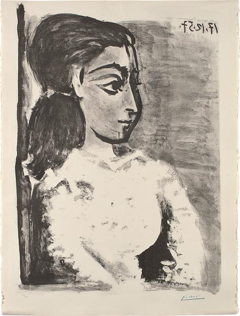 Pablo Picasso, 'Buste de femme au corsage blanc (Jacqueline de profil) (Bust of a Woman with White Bodice, Jacqueline in Profile)', 1957, Phillips