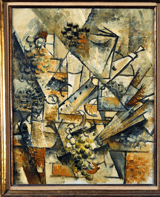 Georges braque natura morta con clarinetto grappolo d for Braque oeuvres
