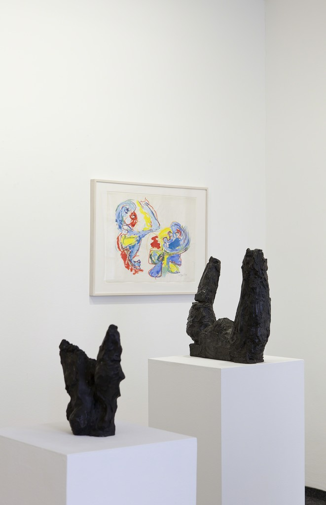 Installation view, Interim 2016 / 2017, drawing by Karel Appel, sculptures by Per Kirkeby