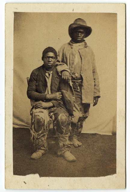 ", 'Two African American Young Men in Tattered Clothing (""Contrabands, general style of dress""),' ca. 1861, Lee Gallery"