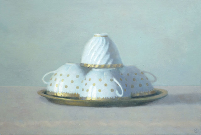 , 'Four White & Gold Teacups,' 2014, Gallery Henoch