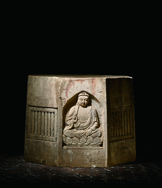 Unknown Artist, 'A Large White Sandstone Pagoda Section of Octagonal Form Carved in Relief with Panels of Four Buddhas 元 八角砂岩雕佛像寶塔殘部', China: Yuan Dynasty (1279-1368), Rasti Chinese Art