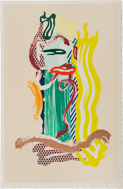 Roy Lichtenstein, 'Portrait, from Brushstroke Figure Series', 1989, Print, Lithograph, waxtype, woodcut and screenprint in colors, on Saunders Waterford paper, with full margins., Phillips
