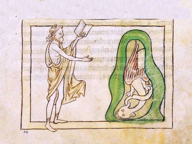 , 'An Asp (detail), Northumberland Bestiary,' 1250-1260, Machamux