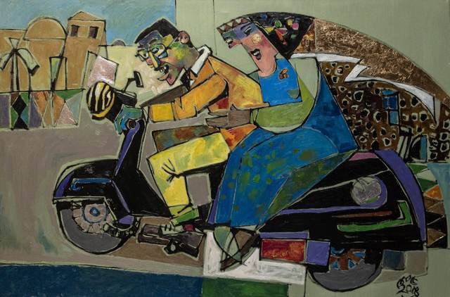 , 'Vespa Passengers ,' 2018, Easel & Camera Contemporary Art Gallery