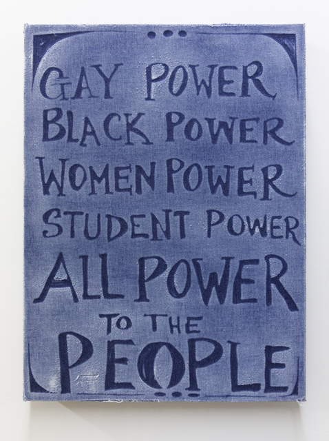 Gabriel Martinez (b. 1967), 'All Power to the People', 2019, Mixed Media, Sanded denim on linocut, mounted on wood panel, Washington Project for the Arts Benefit Auction