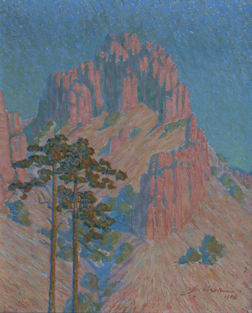 """, 'Untitled """"A"""" Pink Mountain,' 1916, JRB Art at The Elms"""