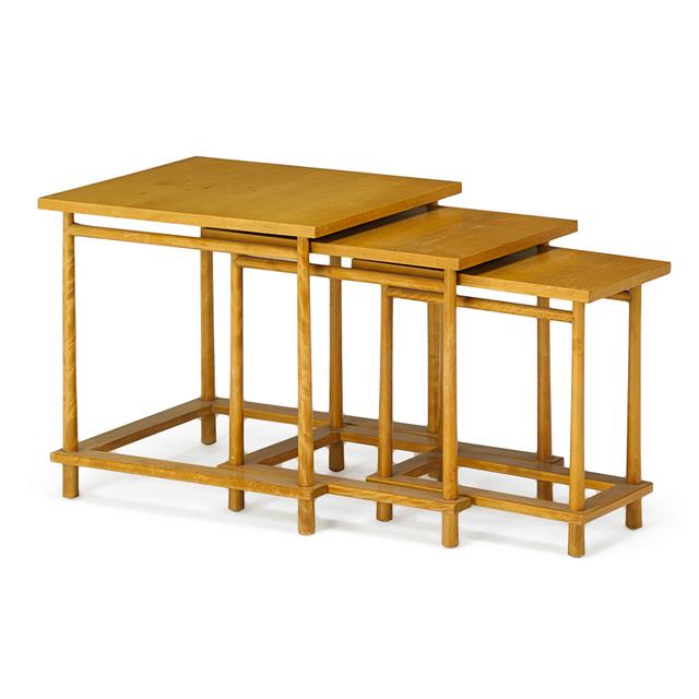 T.H. Robsjohn-Gibbings, 'Three Nesting Tables, Grand Rapids, MI', 1950s, Rago
