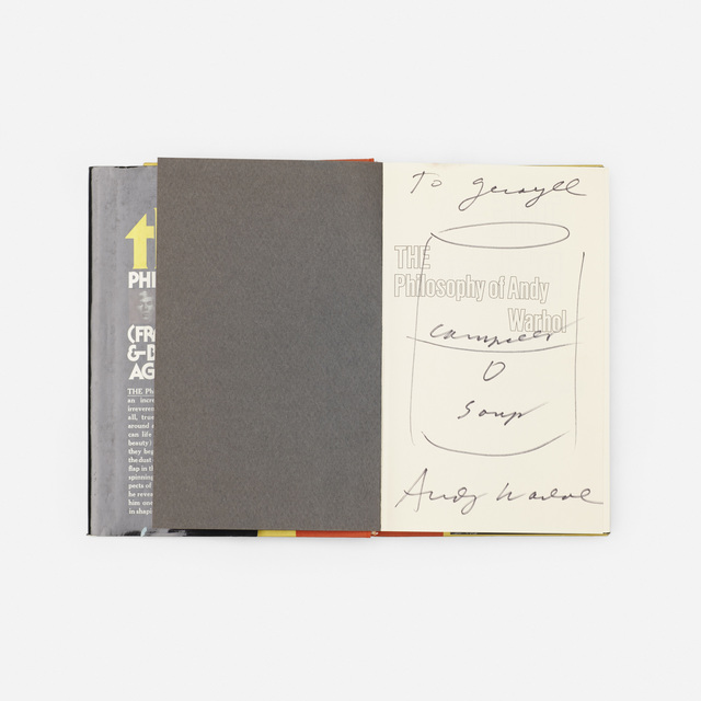 Andy Warhol, 'signed first edition copy of The Philosophy of Andy Warhol', 1975, Wright