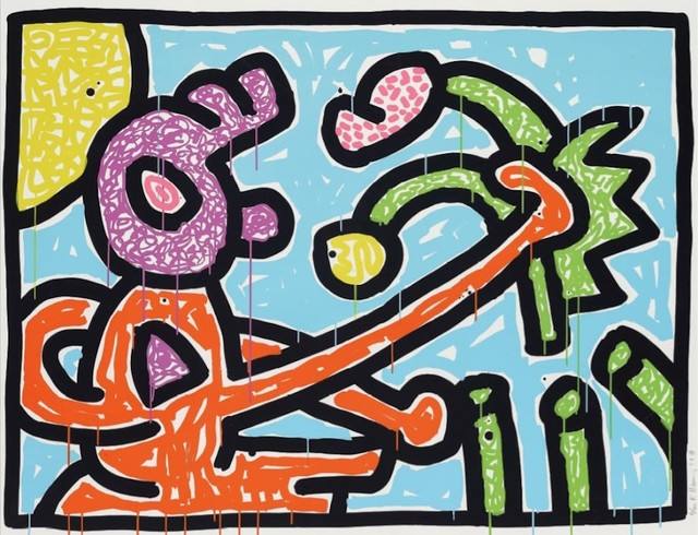 Keith Haring, 'Flowers I (Blue)', 1990, michael lisi / contemporary art