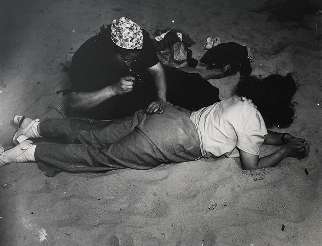 "Weegee, '""Mending"" (Coney Island)', ca. 1940, Elizabeth Houston Gallery"