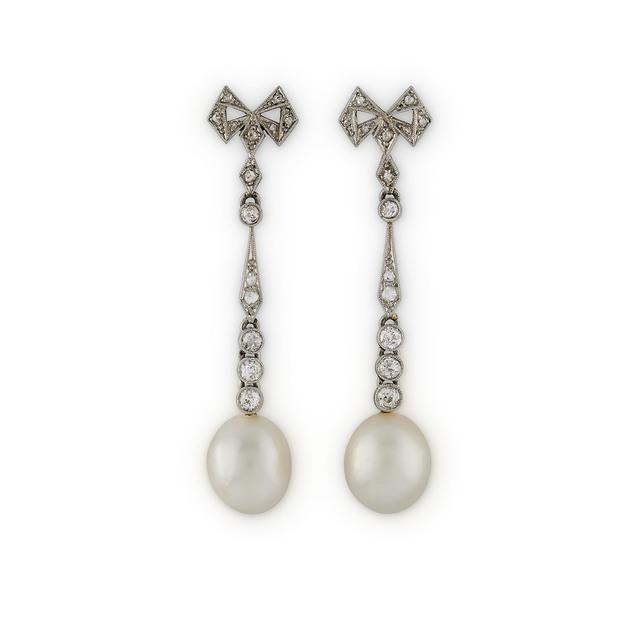 , 'A Pair of Platinum, Diamond and Pearl Earrings,' ca. 1910, Wartski