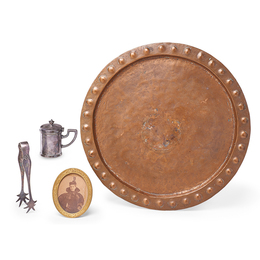 Memorabilia from Gustav Stickley's Grandson, Carl Preim, Including Family Photographs, Copper Tray, and Items from the Craftsman Restaurant in New York City